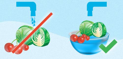 lava las verduras en un cuenco